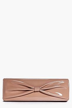 Casey Patent Bow Detail Chain Strap Clutch