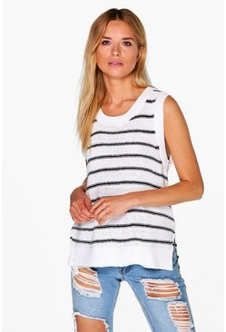 Victoria Nautical Step Hem Tank Top