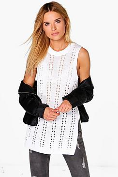Vanessa Sleeveless Pointelle Tabard