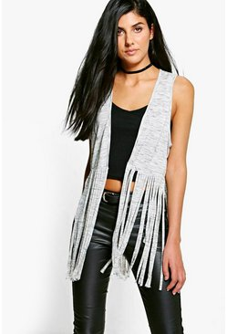 Nicole Sleeveless Cardigan With Tassels