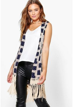 Eva Sleeveless Cardigan With Tassels