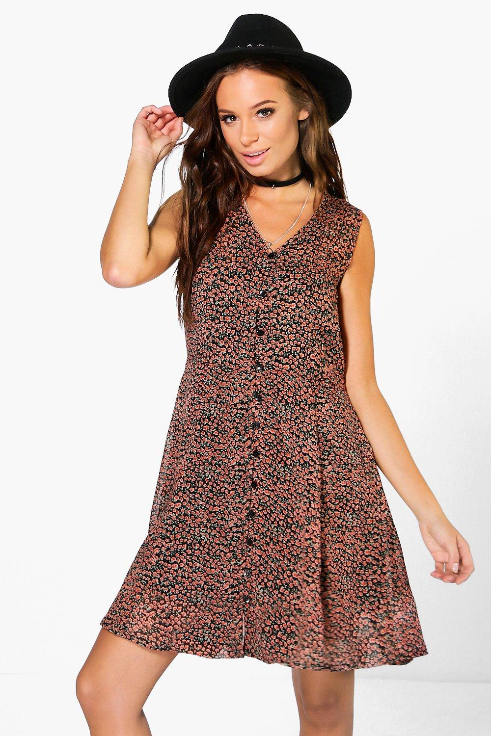 Sophia Printed Button Through Dress