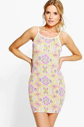 Leila Printed Strappy Bodycon Dress