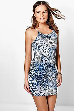 Lottie Printed Strappy Bodycon Dress