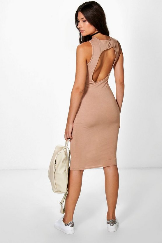 Millie Crew Back Midi Bodycon Dress