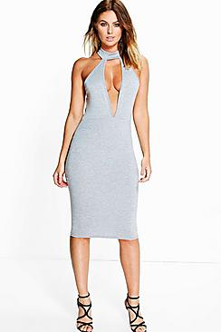Abigail Choker Plunge Midi Dress