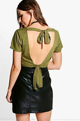 Abigail Open Tie Back Woven Top