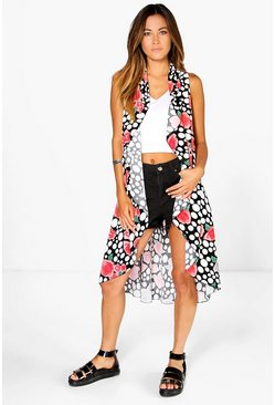 Erin Rose Printed Waterfall Jacket