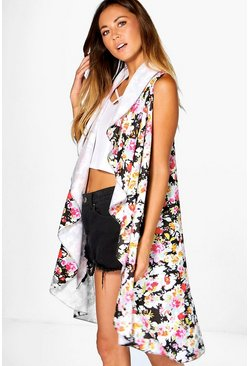 Rosie Printed Waterfall Sleeveless Duster