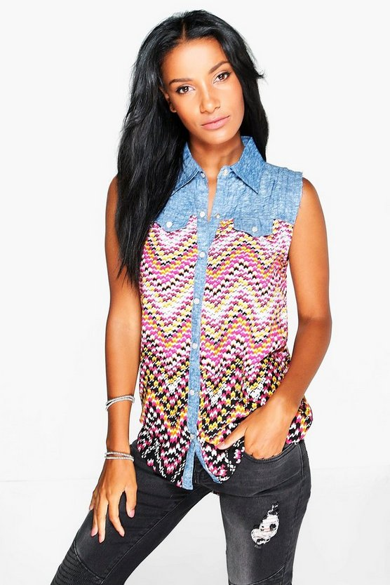 Eliza Sleeveless Printed Blouse