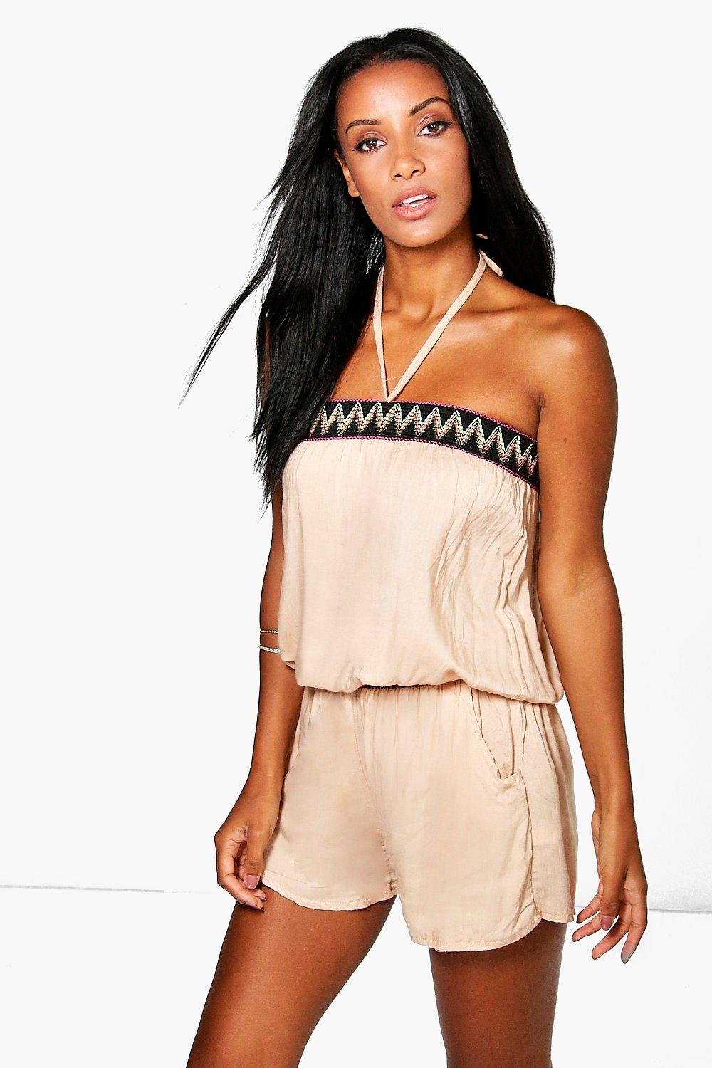 Layla Halter Neck Aztec Playsuit