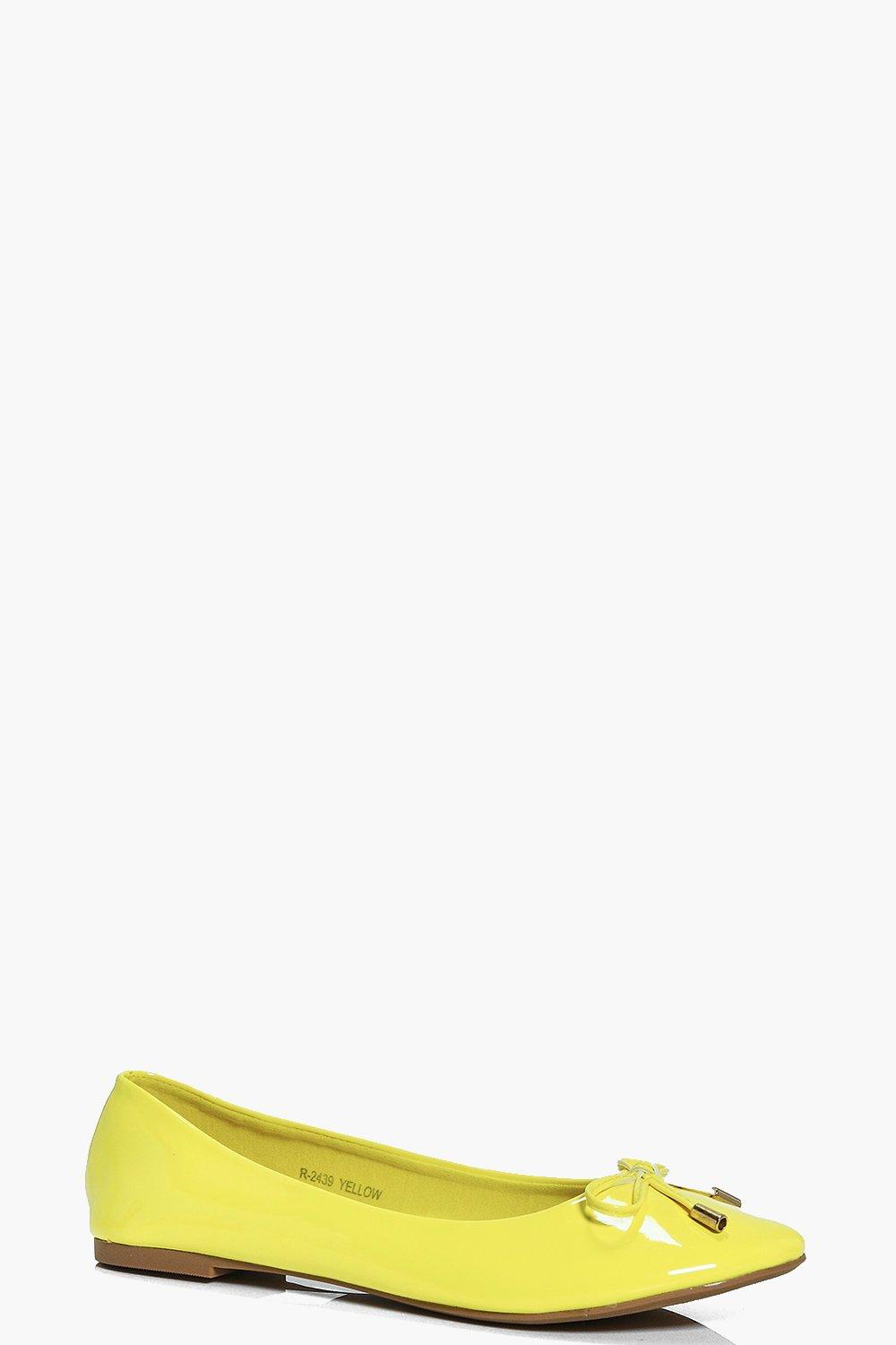 Bow Trim Ballet Shoes - yellow