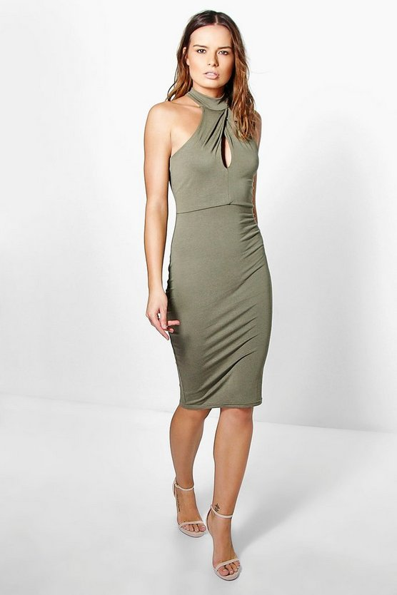 Anna Twist Neck Midi Dress