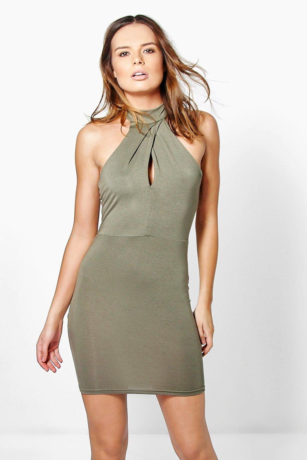 Isabel Twist Neck Bodycon Dress