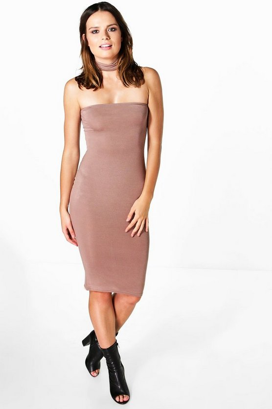Emilia Choker Bandeau Midi Dress