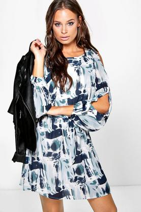 Imogen Printed Cold Shoulder Dress