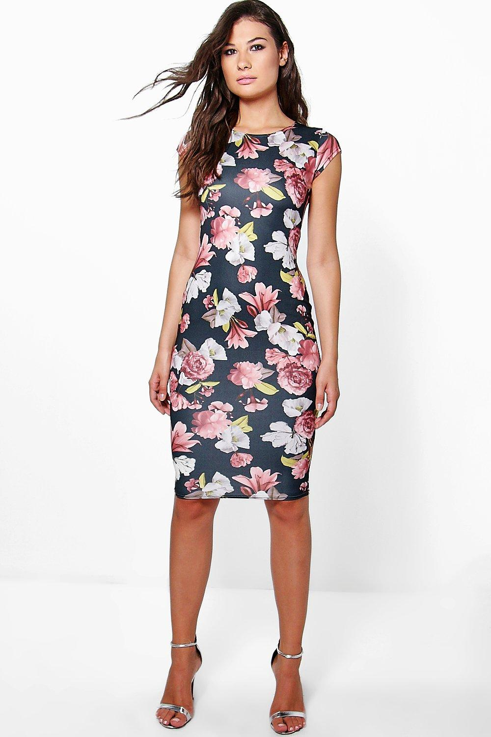 Rebecca Cap Sleeve Printed Midi Dress