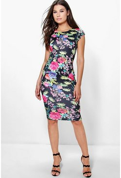 Keira Cap Sleeve Printed Midi Dress