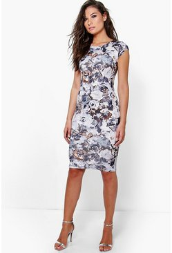Leah Cap Sleeve Printed Midi Dress