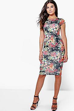 Katie Cap Sleeve Printed Midi Dress