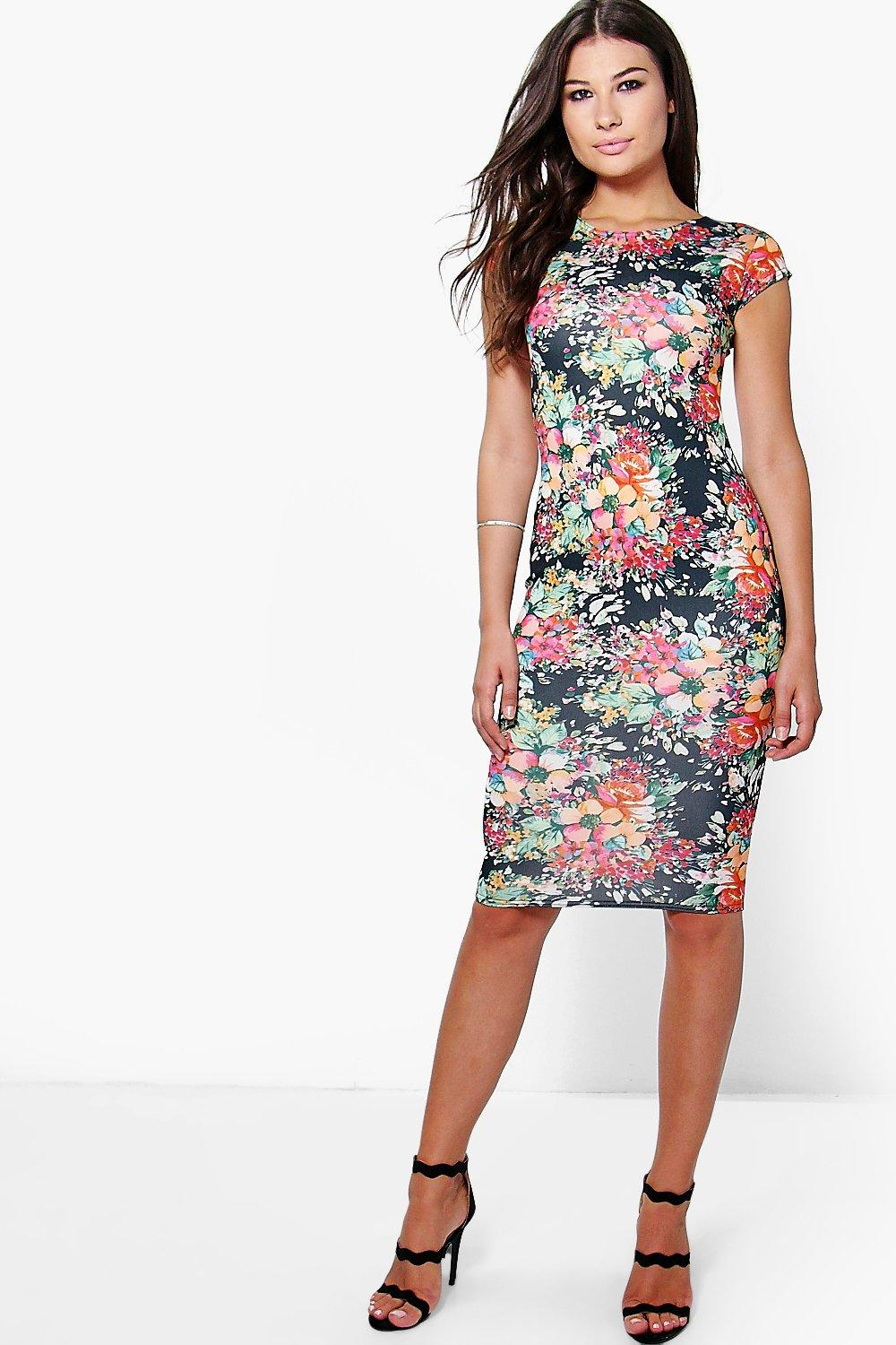 Katie Cap Sleeve Printed Midi Dress