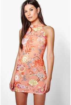Issy High Neck Printed Mini Dress