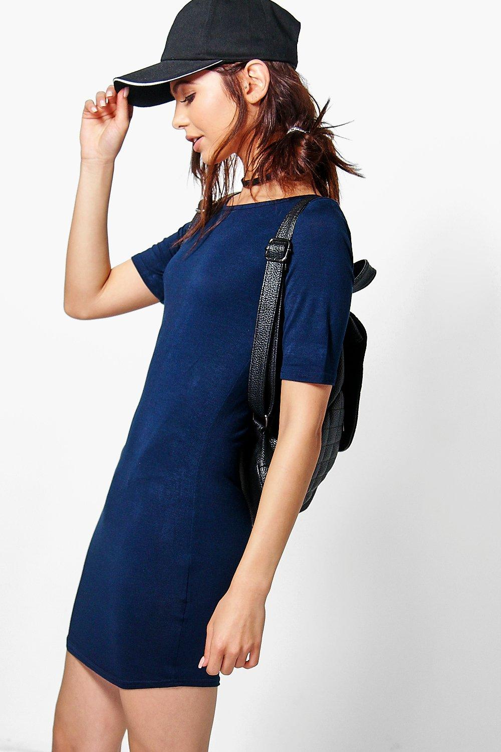 Scarlett High Neck Curved Hem Bodycon Dress