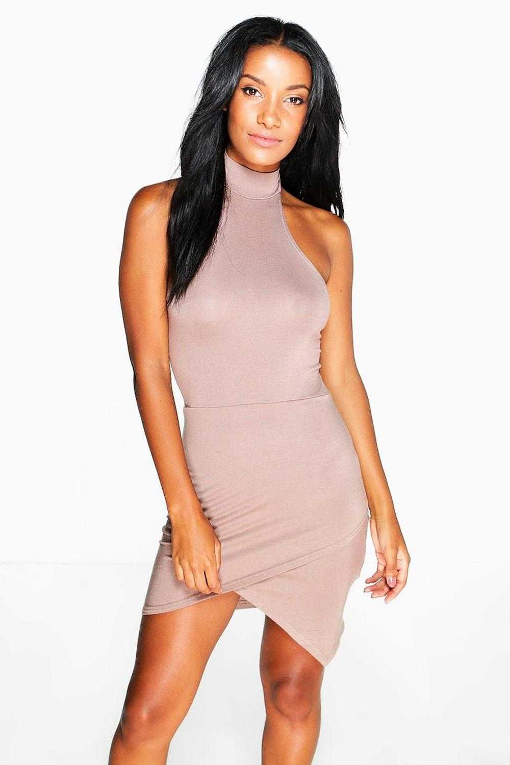 Imogen Halter Neck Asymmetric Bodycon Dress
