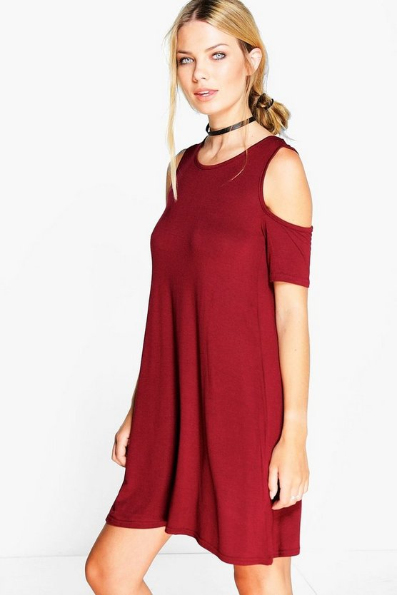 Hannah Cold Shoulder Swing Dress