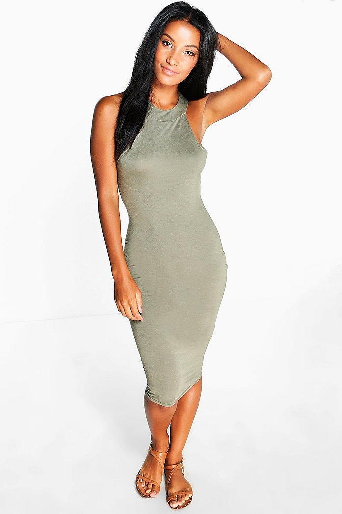 Grace Racer Neck Bodycon Midi Dress