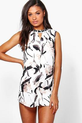 Ellie Monochrome Floral Shift Dress