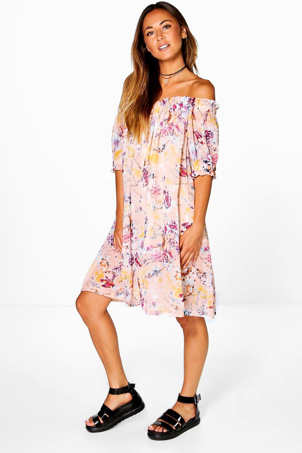 Lucy Off The Shoulder Printed Dress