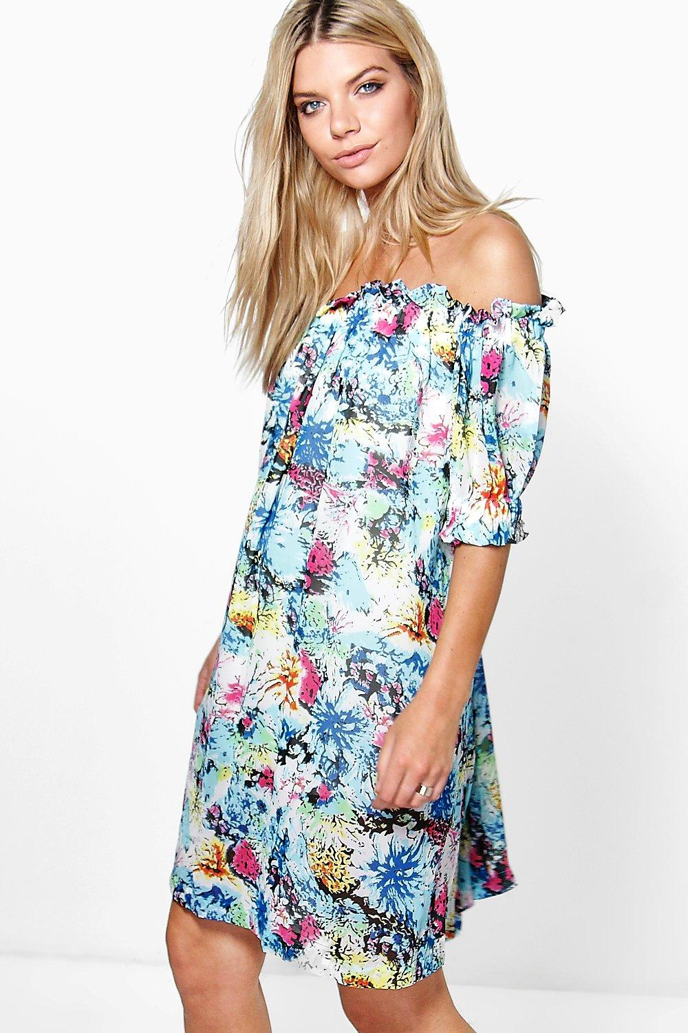 Maisie Off The Shoulder Printed Dress