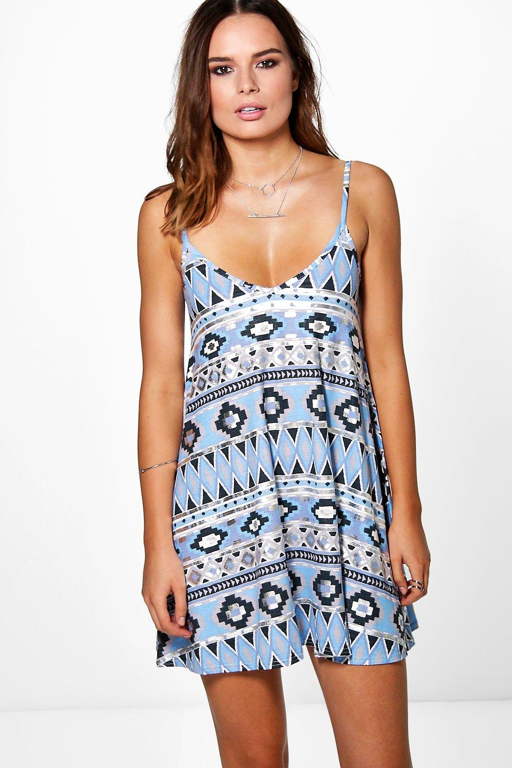 Nicole Printed Strappy Swing Dress