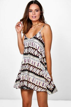 Lydia Printed Strappy Swing Dress
