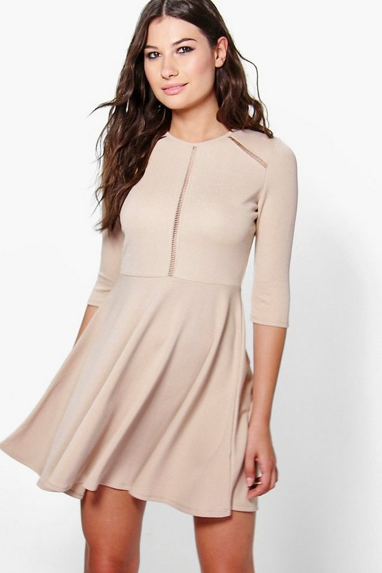 Evie Lattice Detail Skater Dress