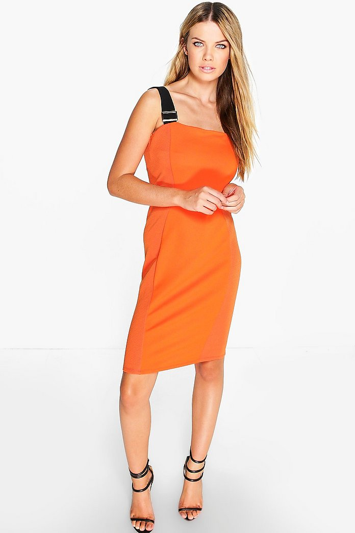 Ava Orange Strap Detail Bodycon Dress