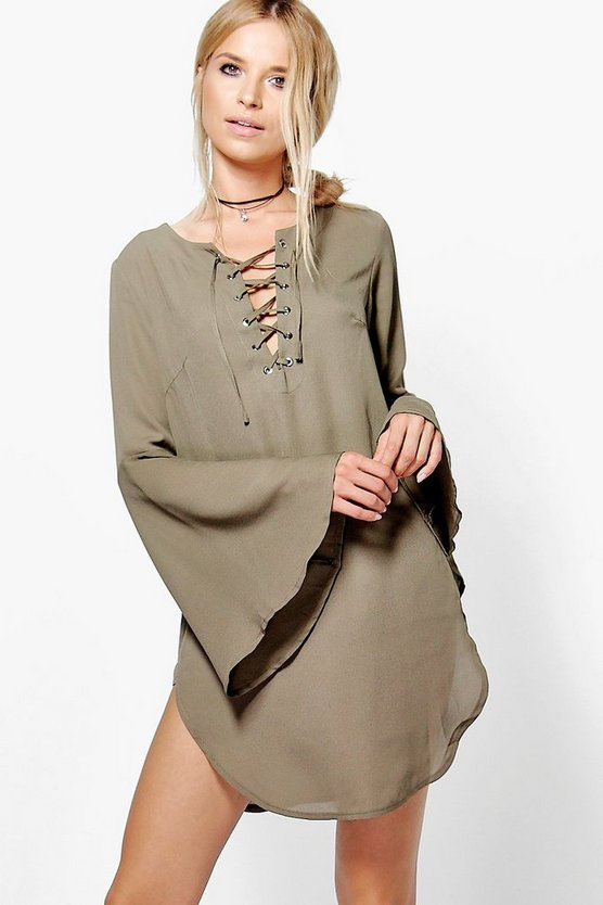 Jasmine Tie Up Bell Sleeve Dress