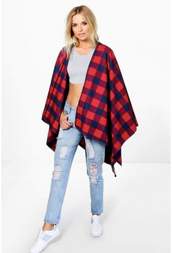 Lacey Red & Navy Check Cape