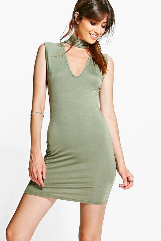 Lexi Choker Plunge Bodycon Dress
