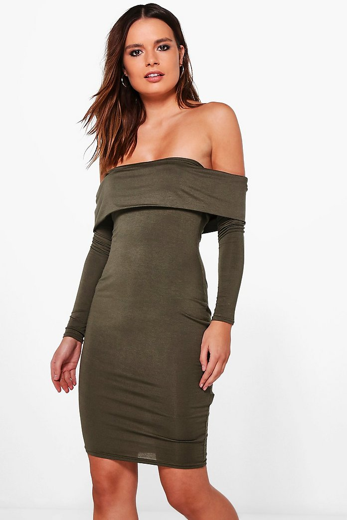 Lacey Bardot Long Sleeve Bodycon Dress