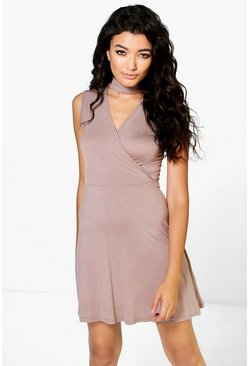 Summer Choker Sleeveless Wrap Dress