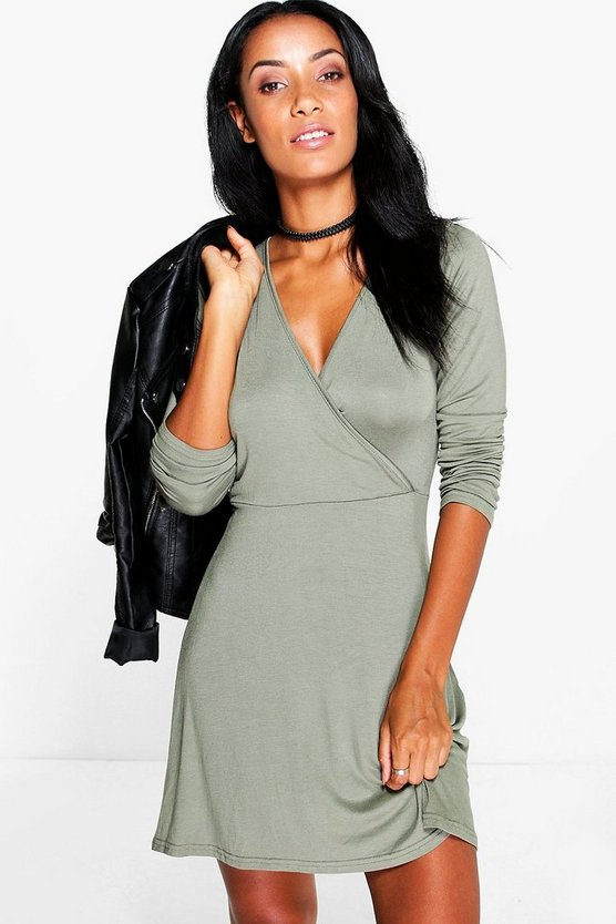 Eva Long Sleeve Wrap Dress