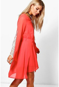 Rosie Crochet Trim Belted Dress