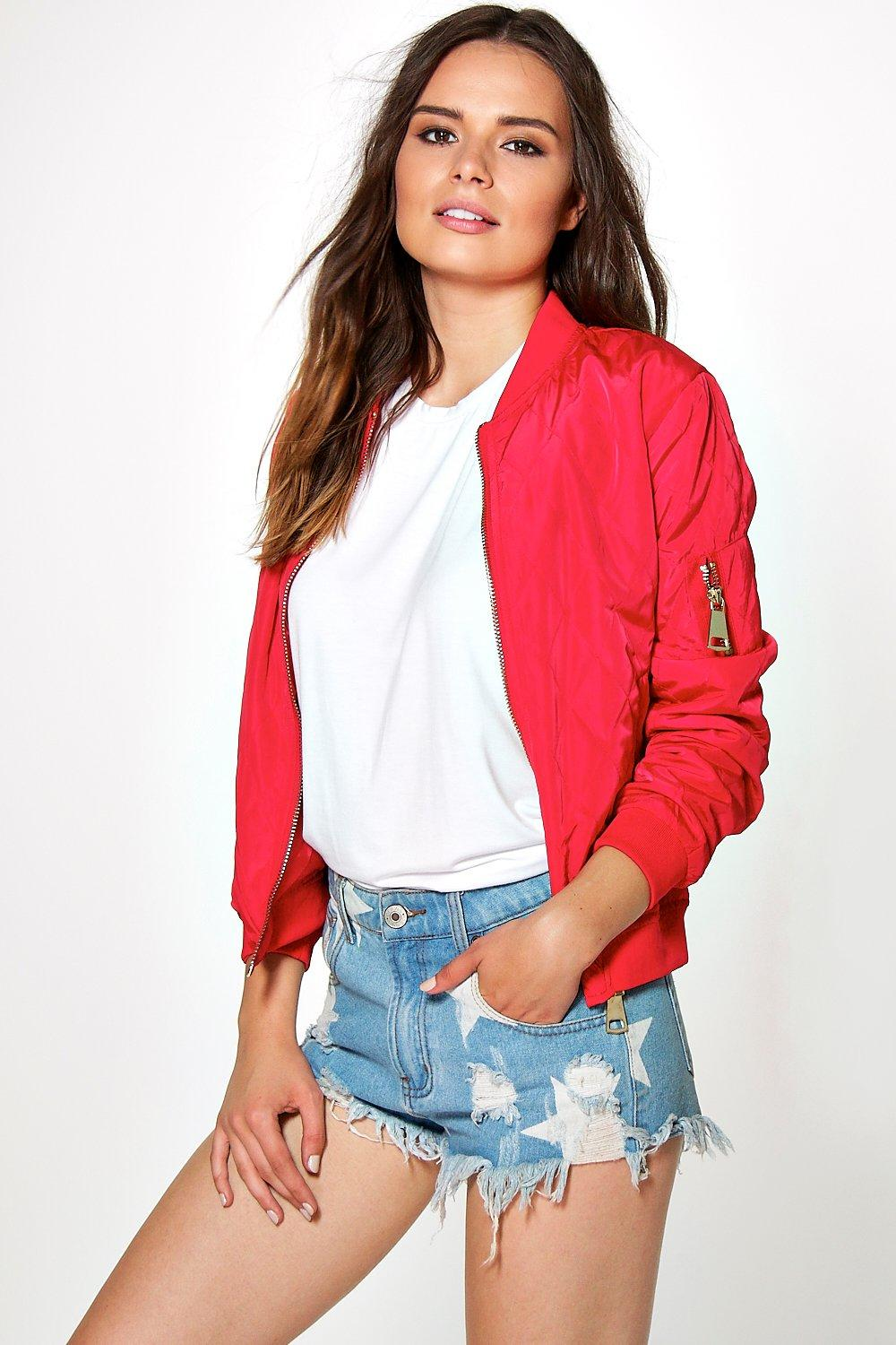 Quilted Bomber Jacket red