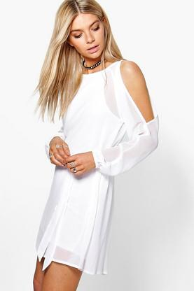 Katie Cold Shoulder Belted Dress