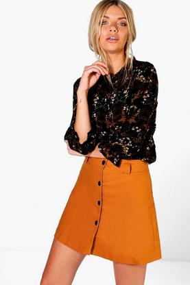Lily Button Front Mini A-Line Skirt