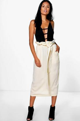 Megan Bow Detail Midi Skirt