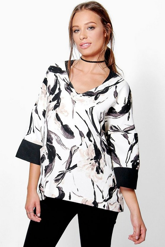 Jasmine Printed Contrast Trim Top