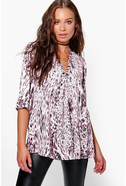 Lacey Printed V Neck Top